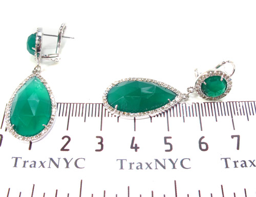 Green Chalcedony & Diamond Earrings 33744 Stone