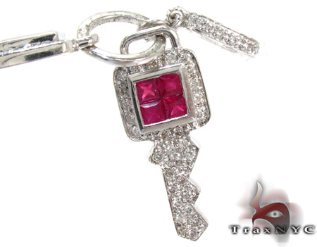 Blue & Pink Sapphire with Diamond Key Pendant Style