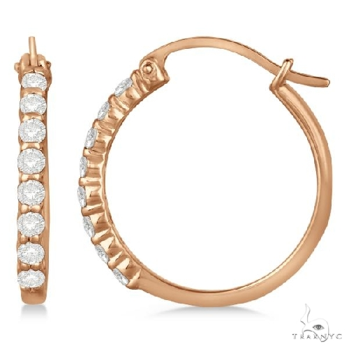 Genuine Diamond Hoop Earrings in Pave Set 14k Rose Gold with Stone