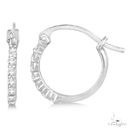 Genuine Diamond Petite Hoop Earrings Pave Set 14k White Gold Stone