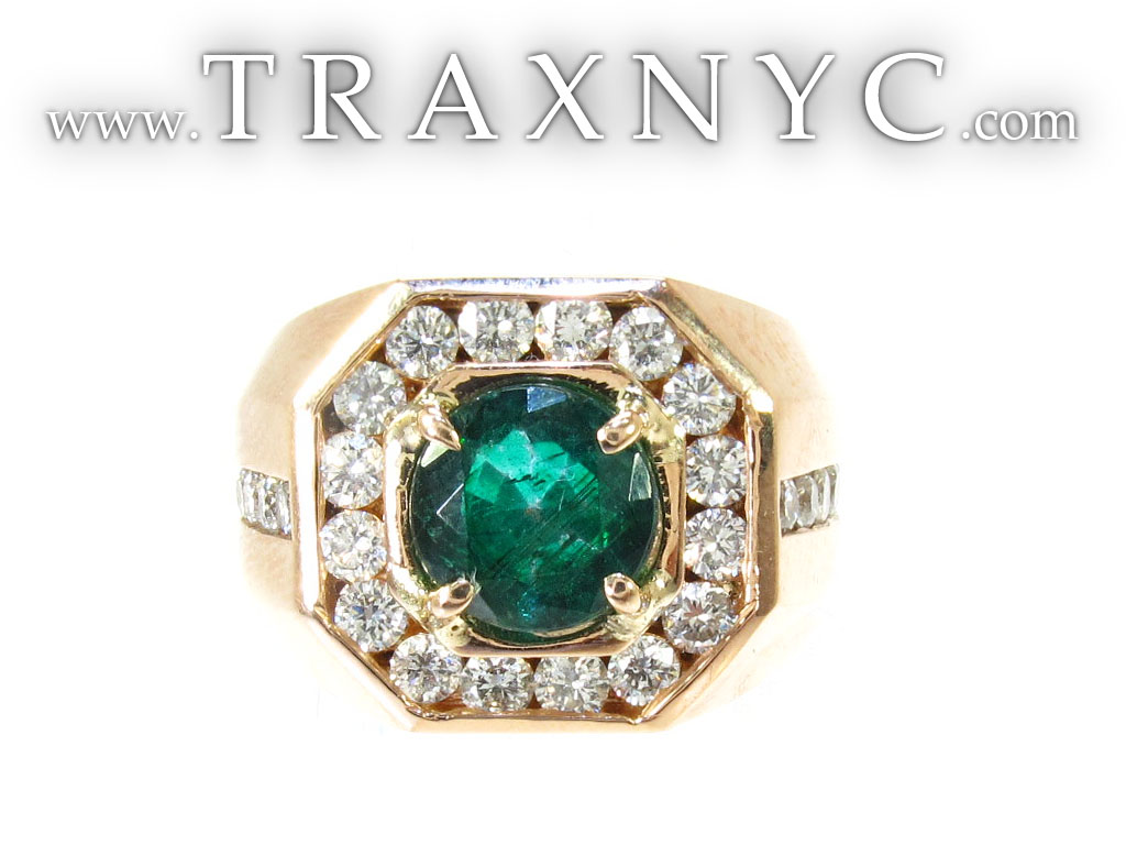 Mens Emerald Rings on Godfather Emerald Ring Mens Diamond Ring Rose Gold 14k Round Cut 1 10