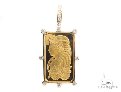 Gold pamp suisse bar diamond pendant 43564 aloadofball Image collections