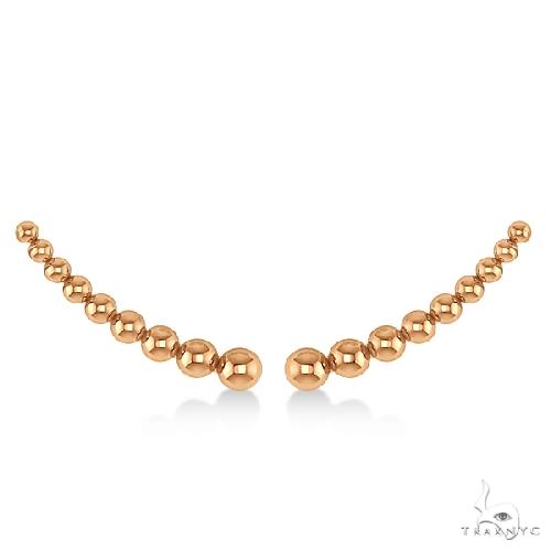 Graduating Beads Ear Cuffs Plain Metal 14k Pink Gold Metal