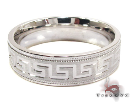 Mens Greek Patterned Sliver Wedding Band Metal