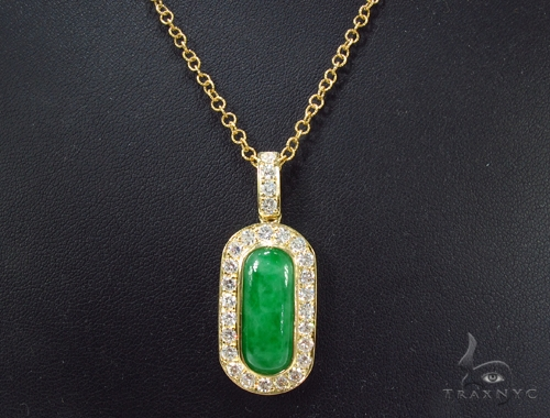 Green Jade Diamond Necklace 35951 Gemstone