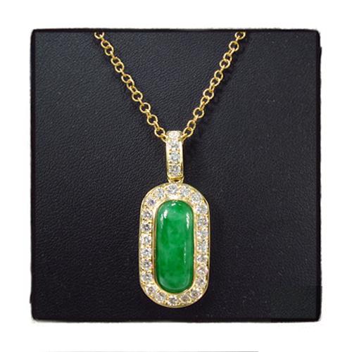 Green Jade Diamond Necklace 35951 Gemstone