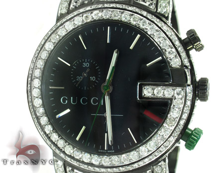 36e79ad36fc Gucci Chrono Black   White Full Diamond Watch Mens Gucci Stainless Steel