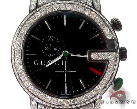 Gucci Chrono White Half Diamond Band Watch Gucci