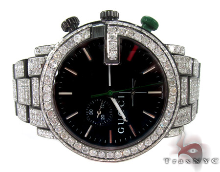 Gucci Chrono White Half Diamond Band Watch Gucci