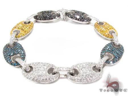 Gucci Link Multi Colored Diamond Bracelet Mens Diamond White Gold 14k