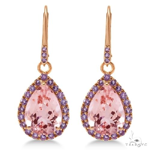 Halo Dangling Amethyst and Morganite Earrings 14k Rose Gold Stone