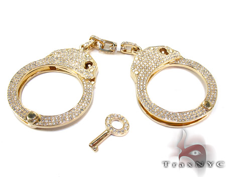 Handcuffs with Key Diamond Pendant Diamond Pendants