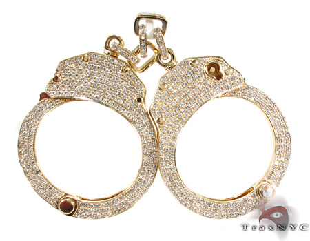 Handcuffs with Key Diamond Pendant Metal
