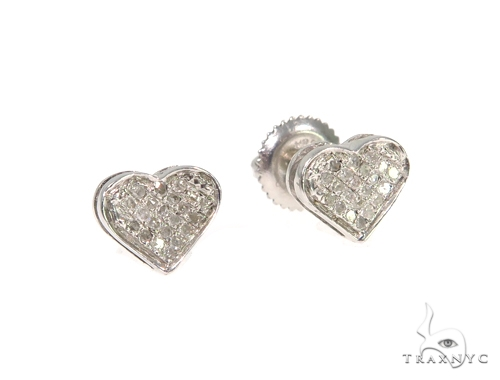 Heart Diamond Silver Earrings 45503 Metal