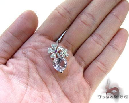 Heart Flower multi colored gemstones & Diamond Pendant Stone
