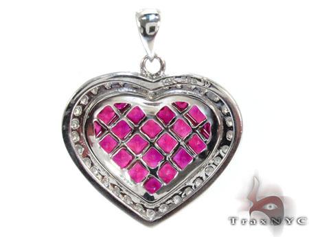 Heart Pink Sapphire & Diamond Pendant Stone