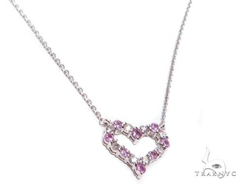 Heart Pink Sapphire Diamond Necklace 40829 Gemstone