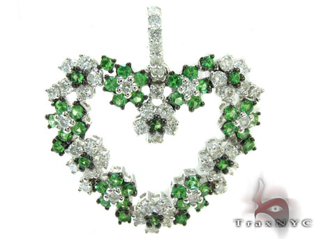 Emerald & Diamond Spring Heart Pendant Stone