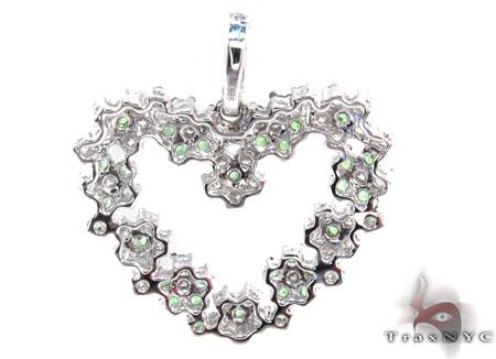 Emerald & Diamond Spring Heart Pendant Stone