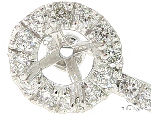 Hex Diamond Semi Mount Hoop Earrings Stone