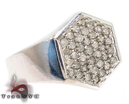 Hexagon Silver Diamond Ring Metal