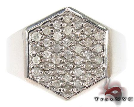 Hexagon Silver Diamond Ring Metal