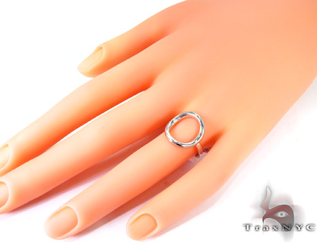 Hollow Oval White Gold Ring Anniversary/Fashion