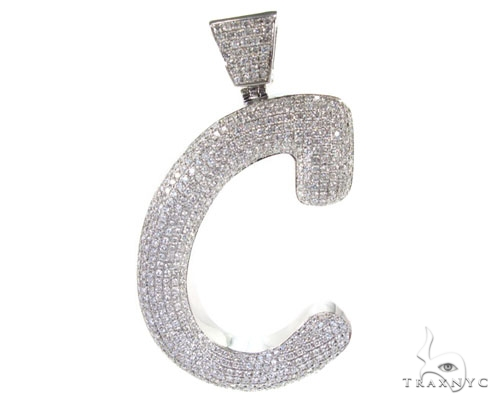 Iced Letter C Pendant Metal