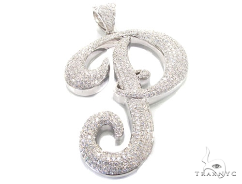 iced letter p pendant mens diamond pendant white gold 14k