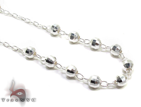 Iced Out Silver Rosary 18 Inches 3.5mm 10.6 Grams Silver