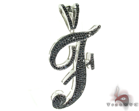 Initial F Black Color CZ Sterling Silver Pendant Metal