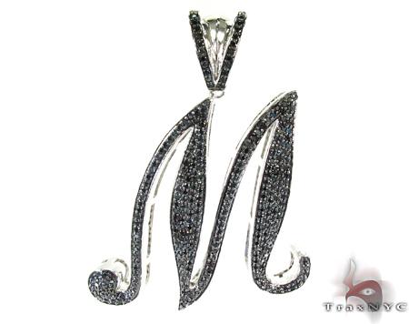 Initial M Black Color CZ Sterling Silver Pendant Metal