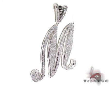 Initial M Sterling Silver Pendant Metal
