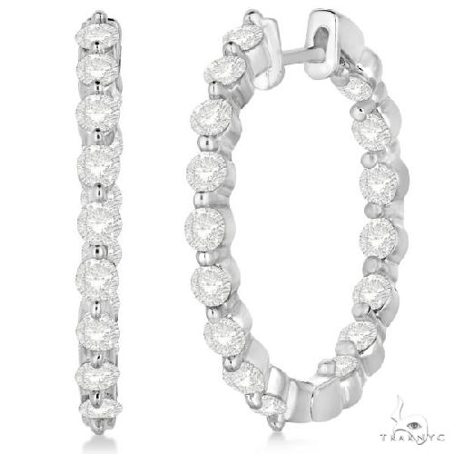 Inside Out Diamond Hoop Earrings Prong Set in 14k White Gold Stone