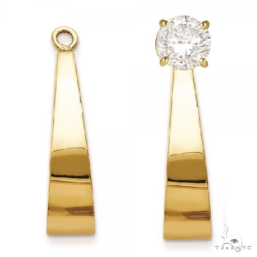 J-Hoop Earring Jackets in Plain Metal 14k Yellow Gold Metal