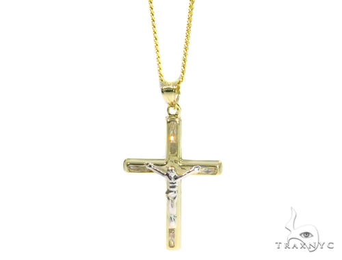 Jesus Cross Cuban/Curb Gold Chain Set 44467 Gold
