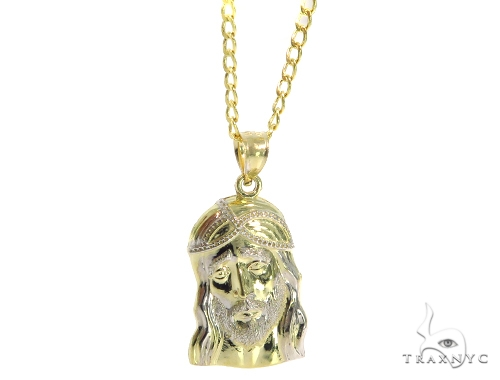 Jesus Gold Pendant Cuban Chain Set 45306 Style