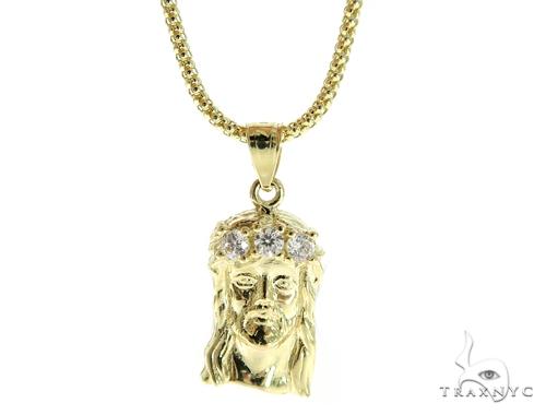 Jesus Gold Pendant and Popcorn Chain Set 49674 Metal