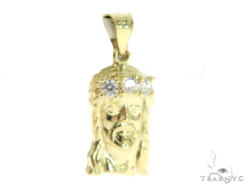 Jesus Gold Pendant and Popcorn Chain Set 49674 Metal