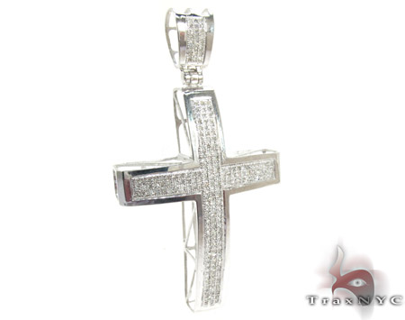 10K Gold Junior Cross and 24 Inches Silver Franco Chain Set Diamond