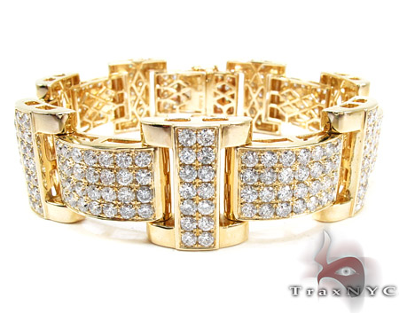 Jupiter Diamond with Yellow Gold Bracelet Mens Diamond Yellow Gold 14k