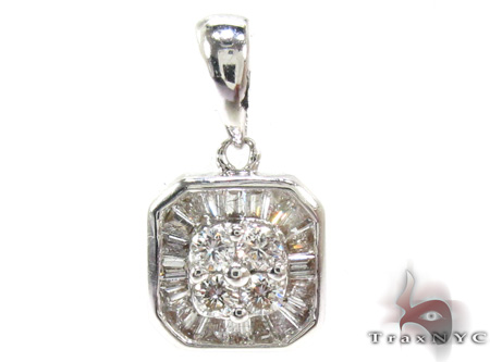 Ladies Baguette Round Cut Diamond Pendant 21467 Stone