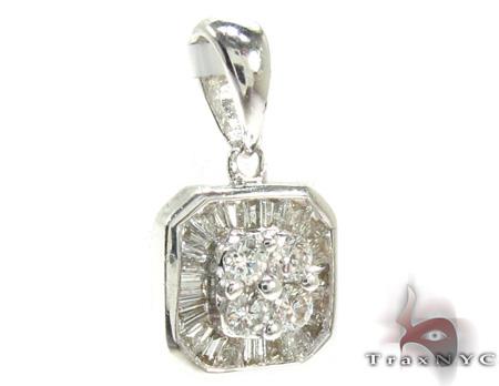 Ladies Baguette Round Cut Diamond Pendant 21467 Stone