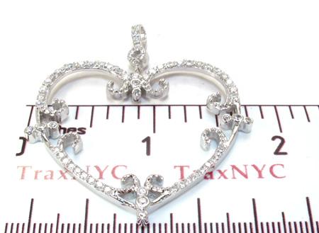 Ladies CZ Silver Heart Pendant 21996 Metal