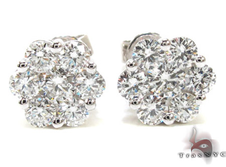 Ladies White Gold Diamond Stud Earrings 21046 Diamond Earrings For Women