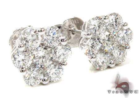 Ladies White Gold Diamond Stud Earrings 21046 Stone