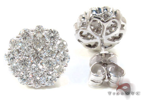 Ladies Cluster Diamond Stud Earrings 21049 Stone