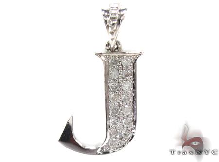 Ladies Diamond Initial J Pendant 21537 Stone