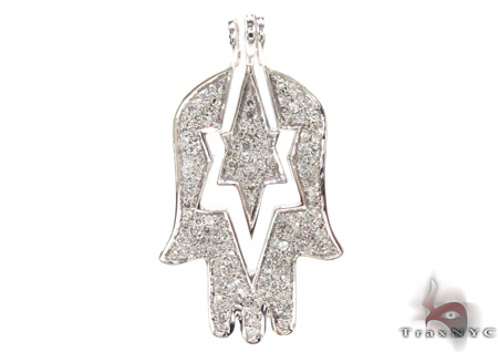 Ladies Hamsa Diamond Pendant 21534 Stone