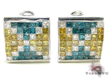 Three Color Diamond Earrings 21186 Stone